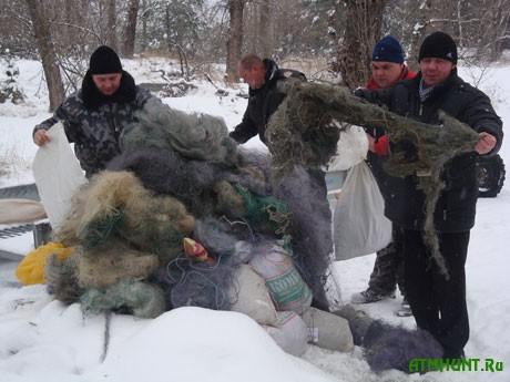 Акция по утилизации десятков километров браконьерских сетей (28.11.2014 года)